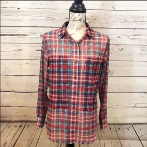 Shades of Grey sheer plaid button down size small